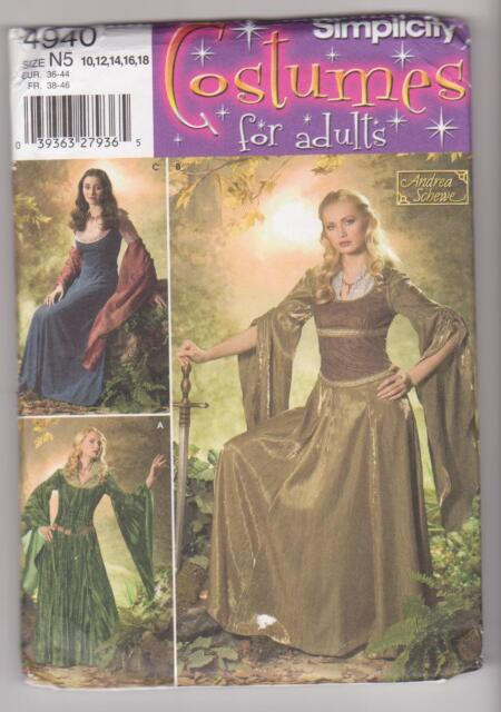 Simplicity Sewing Pattern 4940 Miss Renaissance or Medieval Gown & Yoke Sz 10-18