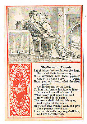 c1880-90s  COLLECTION SUNDAY SCHOOL CARDS  Obediance To Parents