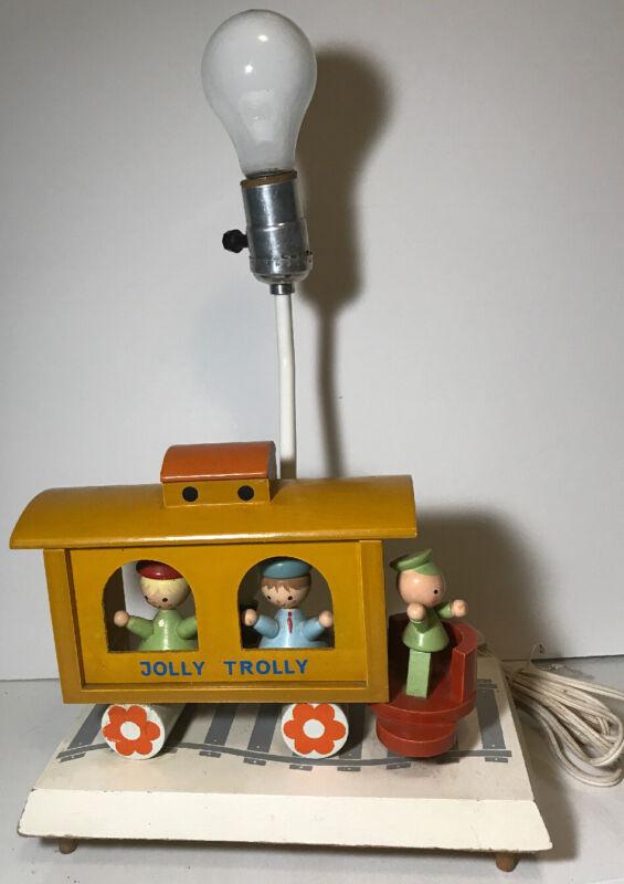 Vintage Wooden Jolly Trolly Nursery Lamp  and Night Light