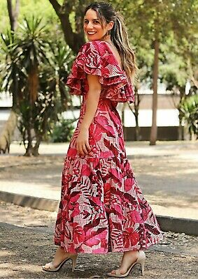 Johanna Ortiz X H&M Broderie Anglaise Beige Red Leaf Dress 8 SOLD OUT BLOGGERS