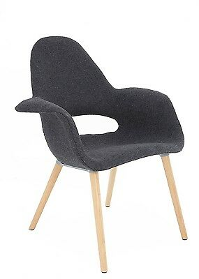 SILLÓN TOWER WOOD TAPIZADO GRIS ESTILO NORDICO IDEAL PARA SALON/COMEDOR