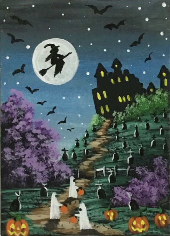 ACEO Original Halloween Mini Acrylic Sketch Card Trick-r-treating ghosts witch