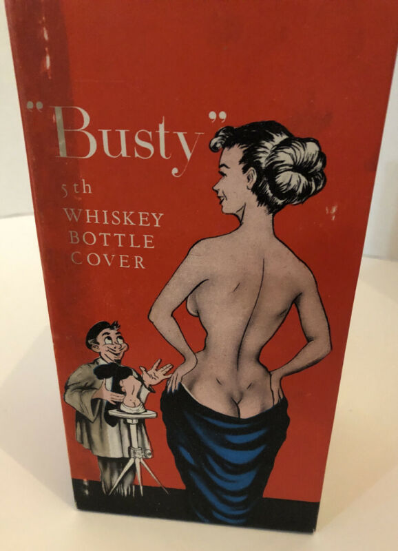 Vintage Busty Liquor Bottle Cover and Coasters  ( Funny Novelty)