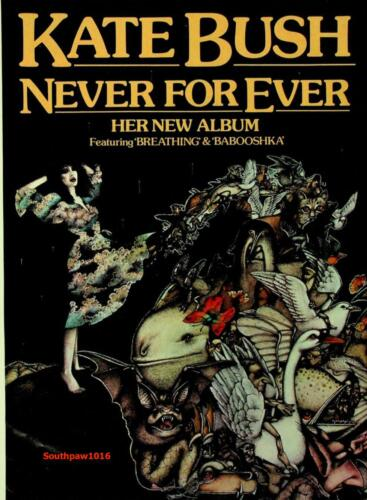 "1980  Kate Bush ""Never ForEver"" Album Release Music Industry Promo Ad Print"