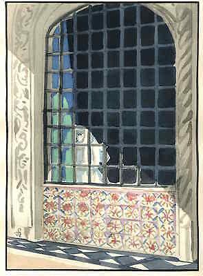 HINTER den GITTERN des KLOSTERS - René Georges HERMANN-PAUL Handcoloriert 1929