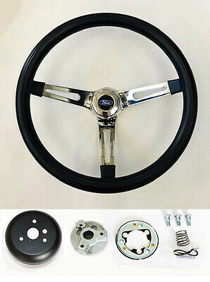 "Bronco F100 F150 F250 F350 Black Foam Grip on Chrome Steering Wheel 15"" Ford cap"