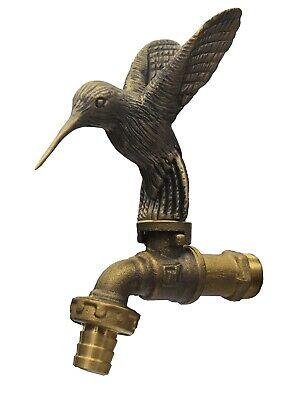 Brass Garden Tap Faucet Hummingbird Spigot Vintage Water Home Decor Outdoor