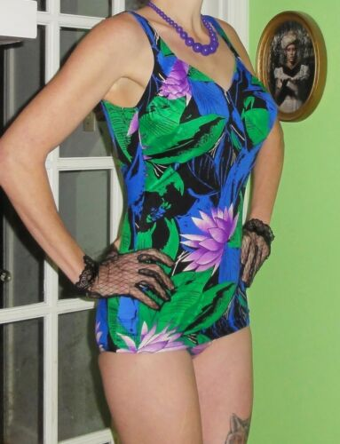 Vintage Blue & Green Tropical Roxanne Swimsuit 10 pinup bathing suit retro ILGWU