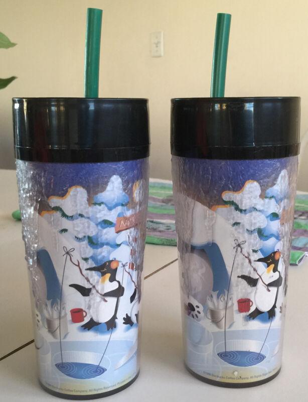 OLDER STARBUCKS COFFEE TRAVEL MUG POLAR BEAR/PENGUIN ICICLES WITH GREENSTRAWS