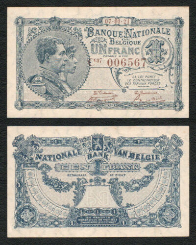 BELGIUM 1 Franc 1921 P-92 NATIONAL BANK VAN BELGIE AUNC Almost Uncirculated