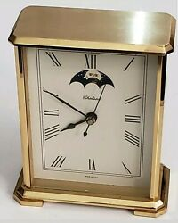 Chelsea Hermle Quartz 2100 working A1 Moonphase Brass Heavy Mantle Clock USA