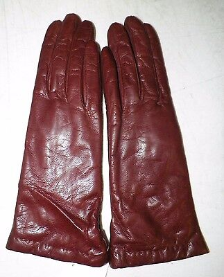 VINTAGE WOMEN'S TALBOT'S LEATHER WRIST GLOVES BROWN CASHMERE LINED SZ 7