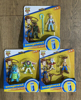 Lot Of 3! Toy Story 4 Figure Sets Imaginext Buzz Woody Bo Peep Bunny Forky Carl