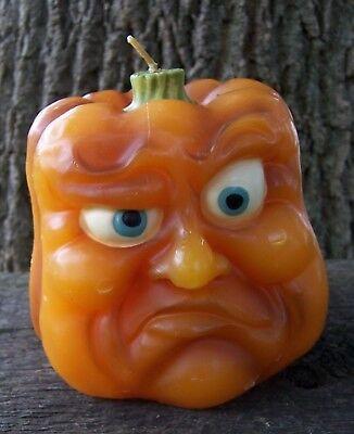 Vintage ANGRY Anthropomorphic Pumpkin Face Halloween Candle Jack O' Lantern 4