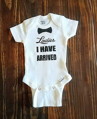 """Used, Baby Newborn Bowtie """"Ladies I Have Arrived"""" Onesie - Misc Sizes Available for sale  Shipping to South Africa"""