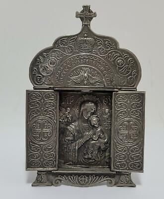 ANTQ RELIGIOUS ICON-SILVER-FOREIGN-MARY & CHILD-RELIGIOUS-5IN-RELIEF-HALLMARKS!