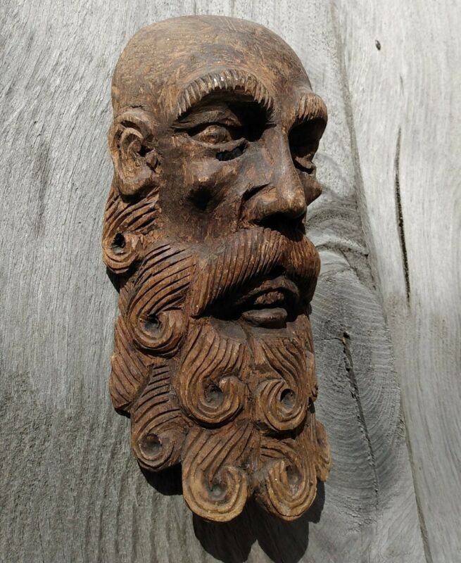 Antique Mexican Hermit Mask Carved Wood Guerrero Mexico Dance Mask 1900