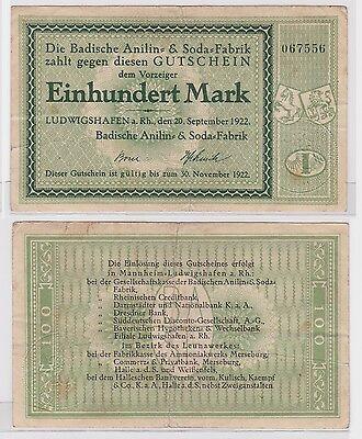 100 Mark Banknote Ludwigshafen Badische Anilin & Soda Fabrik 20.09.1922 (122269)