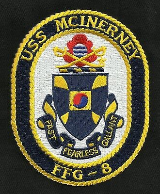 USS MCINERNEY FFG 8 Oliver Hazard Perry Frigate Military Patch FAST FEARLESS