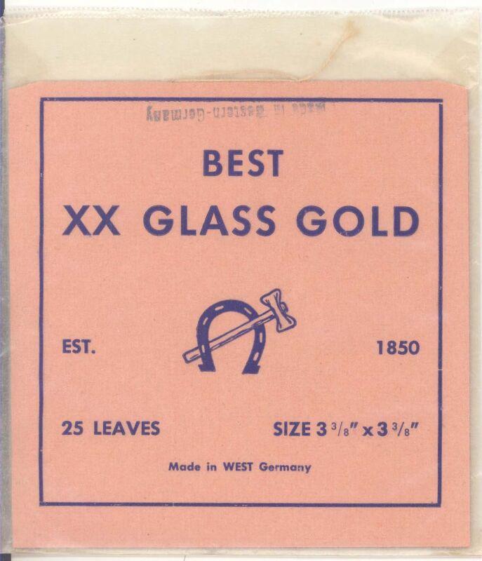 22K BEST XX GLASS GOLD 25 leaves MADE in WEST GERMANY gold leaf goldleaf booklet
