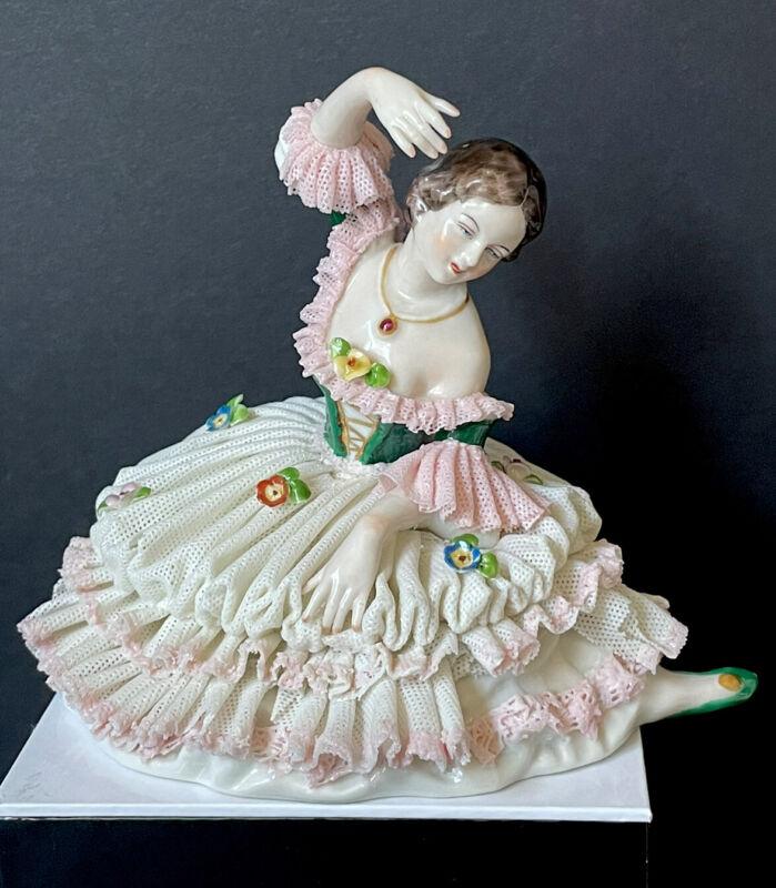 Antique Germany Porcelain Frankenthal Dresden Lace Dancer Ballerina Figurine