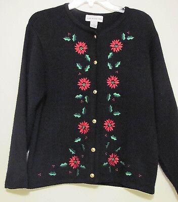 Womens Croft & Barrows Black UGLY Pretty Christmas Sweater Poinsettia's & Holly ()
