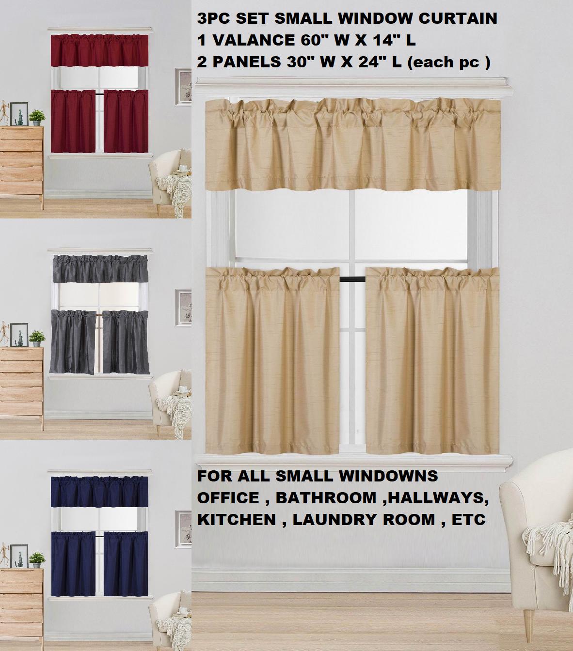 New Modern 3PC Kitchen Blackout Window Valance Tier Curtain Panel Set 54