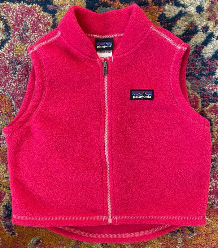 Patagonia Toddler Girl Fleece Vest 18 Months Hot Pink Magenta Very Nice