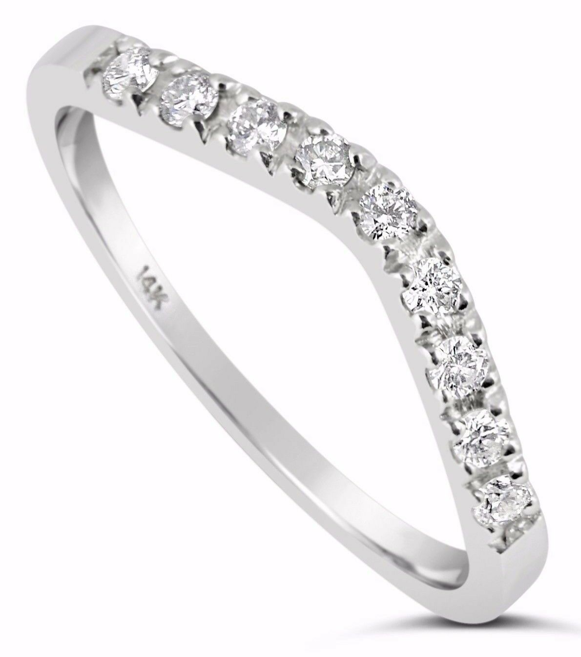 14k White Gold Simulated Diamond Wedding Band Ring Curved...