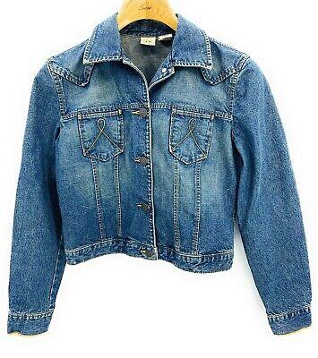 Armani Exchange AX Womens Denim Medium Wash Jean Classic Jacket Cotton Sz Small