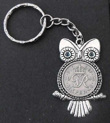 1949 69th birthday lucky Sixpence Owl Charm keyring a free card gift box wedding
