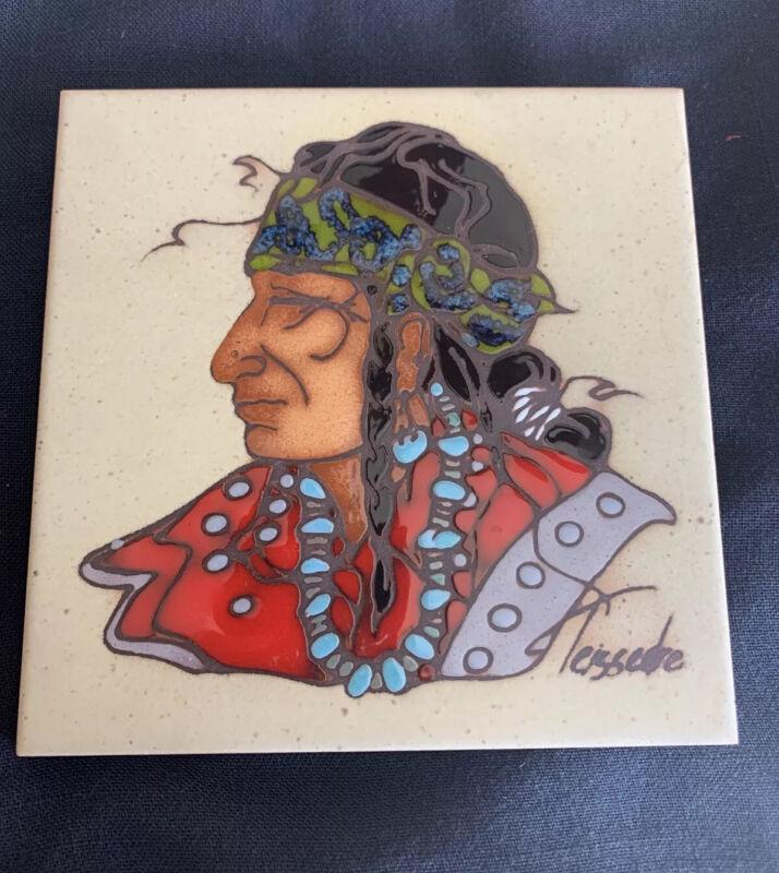 "Vintage Cleo Teissedre Ceramic Tile Southwestern Native American Signed 6"" x 6"""