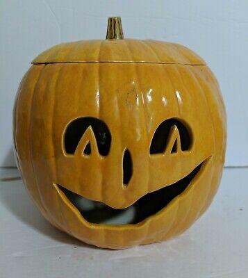 Ceramic Halloween Light Up Pumpkin Jack-O-Lantern Electric With Lid