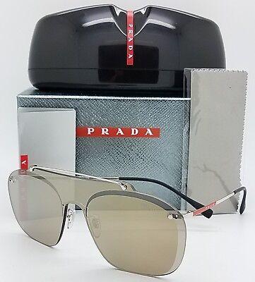 50a9cf6bf3f89 New Prada CLUB SHIELD sunglasses PS51TS 1BC128 Flat Aviator Gold sport rap  PS 51