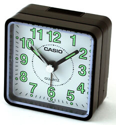 Casio TQ140-1B White Dial Easy Reader Black Table Top Travel Alarm Clock