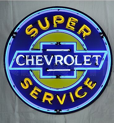 "Giant Chevy Super Service 3 Ft. 36"" Round Neon Sign 9CHEVYB w/ Free Shipping"