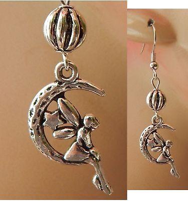 Fairy Earrings Moon Charm Drop Dangle Silver Handmade Jewelry Accessories Women