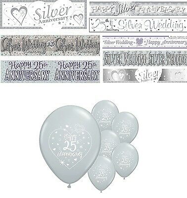 25th SILVER WEDDING ANNIVERSARY BANNERS 8 DESIGNS PARTY DECORATIONS (Silver Wedding Anniversary Banners)