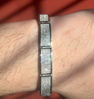 Sleek! $299 Mens 14k White Gold wgp CUSTOM Simulate Diamond Micro Pave Bracelet! ()