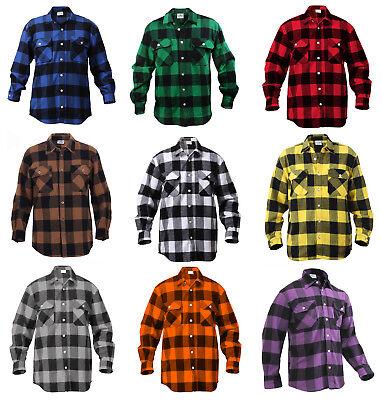 Buffalo Plaid Flannel - Mens Brawny Buffalo Plaid Flannel Shirt Long Sleeve Heavyweight Rothco 4739