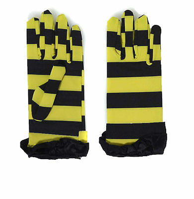 Bumble Bee Gloves (DELUXE BUMBLE BEE GLOVES YELLOW/BLACK SHORT DRESS GLOVES ADULT COSTUME)
