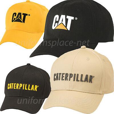 Cotton Stretch Logo Hat - Caterpillar Hats Men CAT Trademark Stretch Fit Logo Cap Cotton/Spandex Fitted
