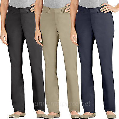 Womens Stretch Twill Pants - Dickies Pants Womens Flat Front Slim Fit Straight Leg Stretch Twill Pant FP600