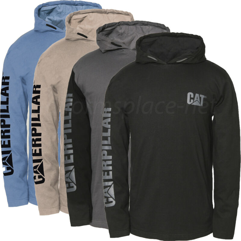 Caterpillar shirt Men CAT Long Sleeve UPF Hooded Banner Tee Moisture Control