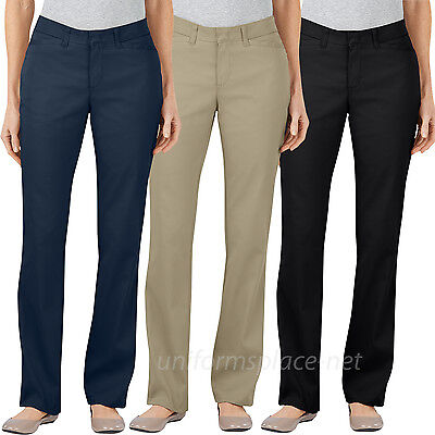 Dickies Pants Womens Curvy Fit Straight Leg Stretch Pant FP602 Black Navy Khaki (Navy Stretch Pants)