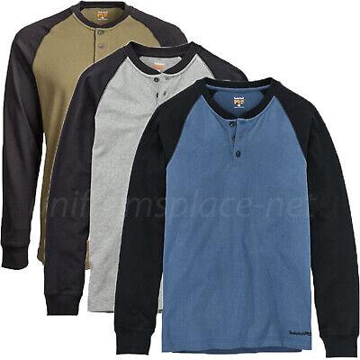 Timberland PRO T Shirt Mens Cotton Core Long Sleeve Henley Raglan T-Shirt A1I39 - Sleeve Core Raglan