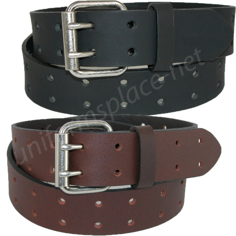 """Dickies Leather Belt Mens 1.5"""" Leather Double Prong Bridle Belt Black, Brown"""
