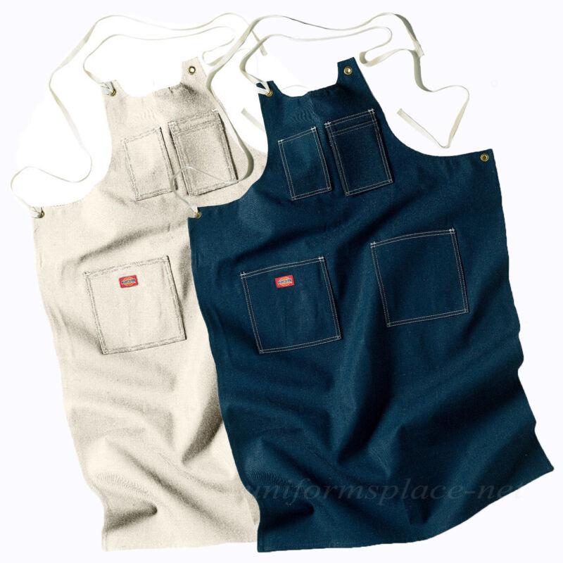 Dickies Adult Toolmaker Aprons Denim, Natural Bib Apron AC20 Cotton Pockets