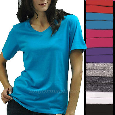 Womens Shirts V-Neck Tee short sleeve Cotton T-Shirts Plain Solid colors S - - Solid Colors