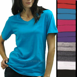 Womens Shirts V Neck Tee Short Sleeve Cotton T Shirts